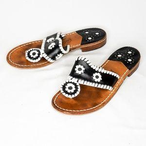 JACK ROGERS Jacks Flat Sandal Black White Leather